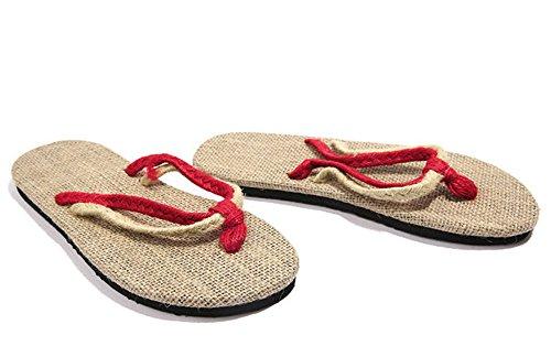 Insun Hommes Lin Tongs Flip Flops Rouge