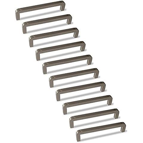 10 x Tirador de puerta de cocina Mizzo Design - en acero inoxidable - 32 x 138 mm - compatible puerta/multifuncional - tiradores para armarios y cajones