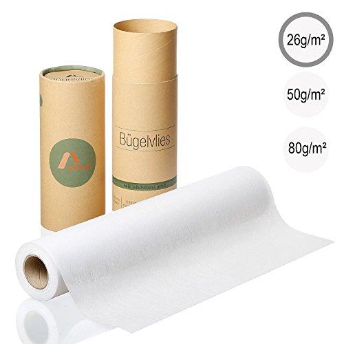 Amazy Bügelvlies für leichte Stoffe (weiß | 26g/m2) – Bügeleinlage zum Verstärken von Kleidung, Decken und Taschen, für Applikationen und Patchwork (9 x 0,4 m)