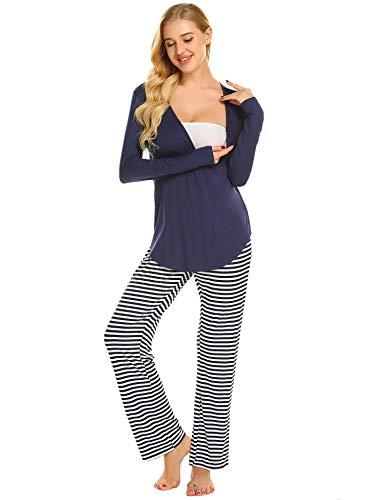 MAXMODA Damen Lange Stillpyjama Stillnachthemd Schlafanzug für Schwangere Umstandsmode