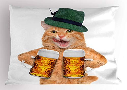 ABAKUHAUS Katze Kissenbezug, Cooler Katzen-Hut-Bierkrug Lustig, Dekorativer Standard King Size Gedruckter Kissenbezug, 65 x 50 cm, Mehrfarbig (Kissenbezug Cooler Standard)