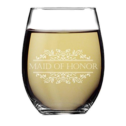 Hochzeit Party ohne Stiel Wein Gläser-Geätzt Wein Glas Geschenk Favor Maid of Honor - Stemless 15oz Lavish Style