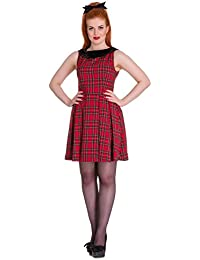 Hell Bunny Eeanor Écossais Mini Robe Rouge