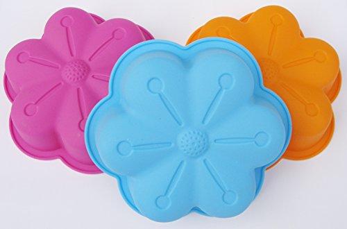 "trendy®3x Silikon Kinder Backform Puddingform Eisform \""Blume\"" 15,5x4cm Motiv Kinder (Mix 1xje Farbe)"