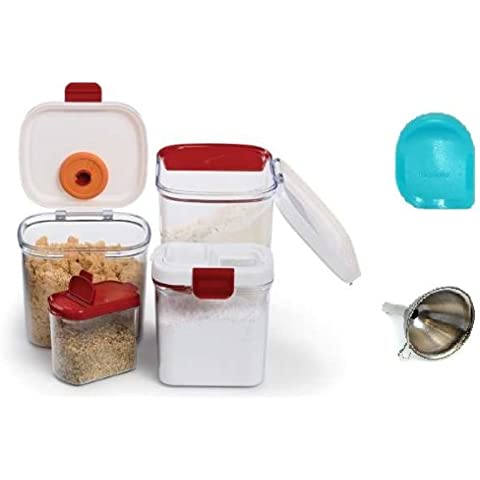Progressive International Ultimate Keeper Set Includes Flour, Brown Sugar, Powdered Sugar, and Mini Keeper Set. Includes Free Stainless Steel Mini Funnel and pan Scraper by