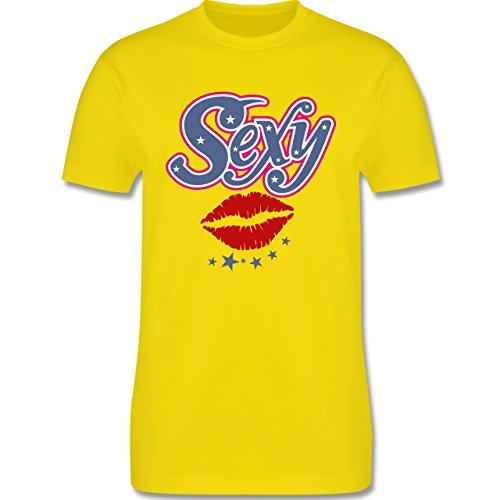 Anzüglich - Sexy Mund - Herren Premium T-Shirt Lemon Gelb