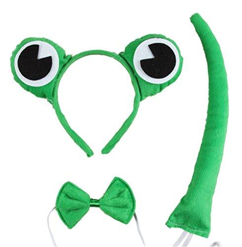 Pormow Kinder Kopfbedeckungen Tierische Cosplay Ohren Stirnband+Krawatte+Schwanz Tierset Weihnachten Halloween Karneval Kostüm Zubehör