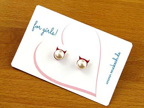 Teufel mit Perle Halloween Ohrringe Ohrstecker Silber 925 Schmuck Handgemacht in Deutschland für Kinder Mädchen Damen (Teufel Mädchen Halloween)