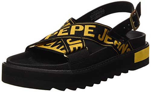 Pepe Jeans Narita Folk, Sandali con Plateau Donna, Gelb (076tumeric 076), 37 EU