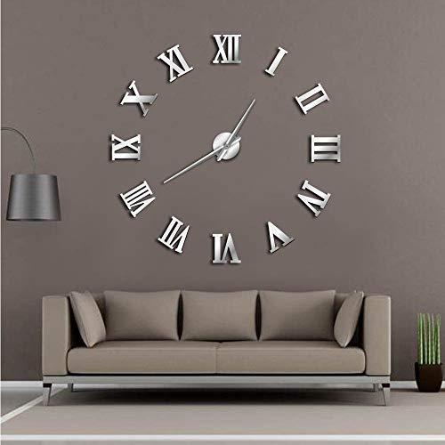 Meaeo Moderne DIY Große Wanduhr 3D Spiegelfläche Aufkleber Wohnkultur Kunst Riesen Wanduhr Uhr Mit Römischen Ziffern Große Uhr, 47 Zoll