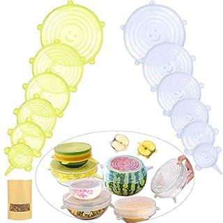 MOKIU 12 Stück Silikondeckel Stretch Deckel Silikon Abdeckung Frischhalte-Deckel Deckt Lids Dehnbar & Wiederverwendbar in Verschiedenen Größen für Schüsseln,Becher,Dosen,Obst