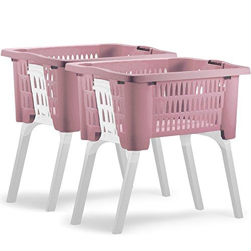 2er Set Wäschekorb mit ausklappbaren Beinen aus Kunststoff Wäschesammler Tragegriffe arbeitserleichternd 38 Liter 60x40x58cm rosa (Wäschekorb-set)