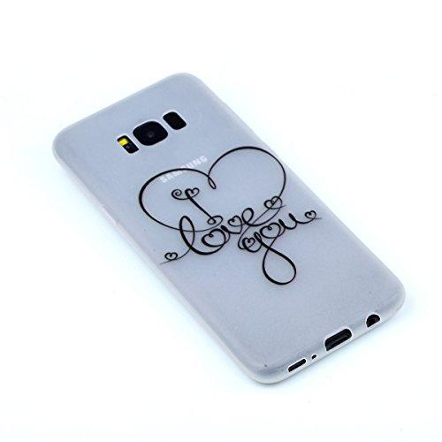 inShang Galaxy S8+ Custodia [Trasparente cover Galaxy S8+] [luminoso nel buio], comoda Cover posteriore di case di stile di protezione I Love You