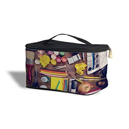 Art supplies cosmétiques maquillage étui de rangement – Fermeture éclair sac de voyage, noir, One Size Cosmetics Storage Case