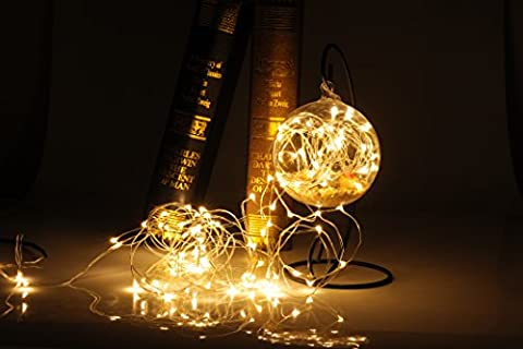 Uping LED Fairy string Light Copper wire light UK plug with build-in DC 12V low voltage transformer Suitable for Indoor, Outdoor, Garden, Chrismas tree, Party, Festival, Wedding Decoration ect 100 leds 10M warm