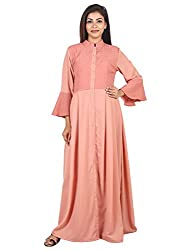 9teenAGAIN Womens Plain And Embroidered Woven Maternity Dress (Rust,Extra Large)