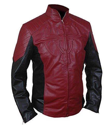 F&H Men's Amazing Spiderman Genuine Leather Jacket Marron