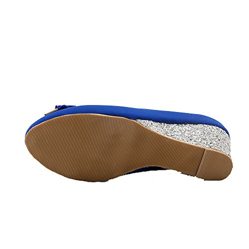 AllhqFashion Damen Mittler Absatz Mattglasbirne Rein Ziehen Auf Rund Zehe Pumps Schuhe Blau