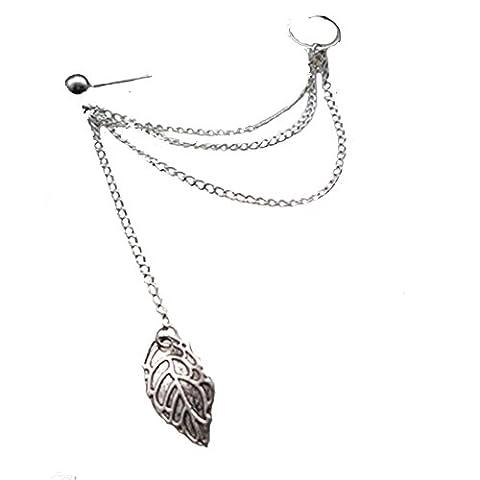 Fashion Elegant Creative Alloy Leaf Shaped Pendant Clip On Earring Women Girls Gift(Only One Earring)
