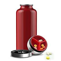 Thermos Vacuum Insulated Storage Water Bottle,20 oz Stainless Steel Red(L.&G. Water bottle keeps hot water hot 24 Hours Later,ice water cold 8 Hours Later)