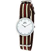 Orologio Donna, Think Positive, Modello SE W96 Flat Watch Medium Acciaio Crystal, Cinturino Di Tessuto/ Cordora, Colore Marrone, Sabbia e Rosso
