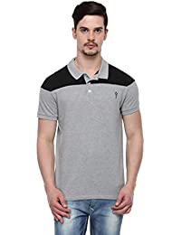 ODAKA Men's Blended Grey & Black Cut & Sewn Melange Polo_1968122031