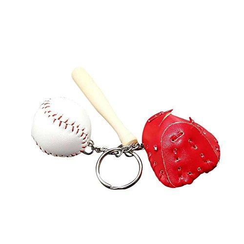 Outflower Kreative Baseball Schlüsselanhänger Anhänger Mini Sport Souvenir Schlüsselanhänger für Feier Aktivität Geschenk, Ca. 10.5cm (Rot)