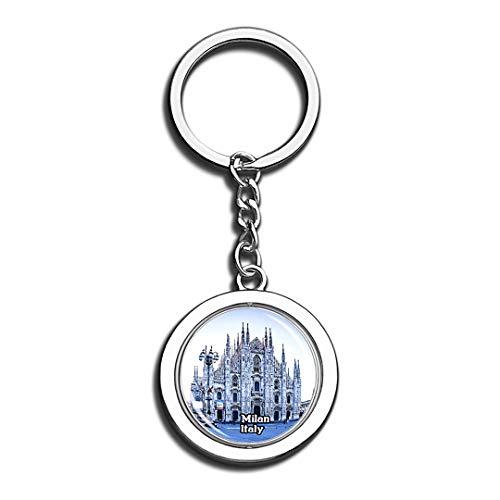 Mailand Kathedrale Italien 3D Kristall Kreative Schlüsselbund Spinning Round Edelstahl Schlüsselanhänger Ring Travel City Souvenir Collection