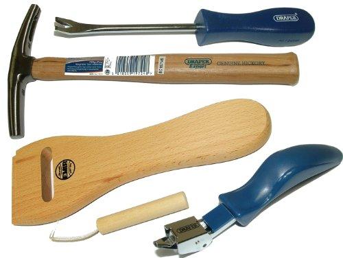 Pandoras Upholstery Kit d'outils pour tapisserie d'ameublement avec pied de biche de tapissier/arrache agrafes/marteau de garnisseur 198g/tendeur de sangle
