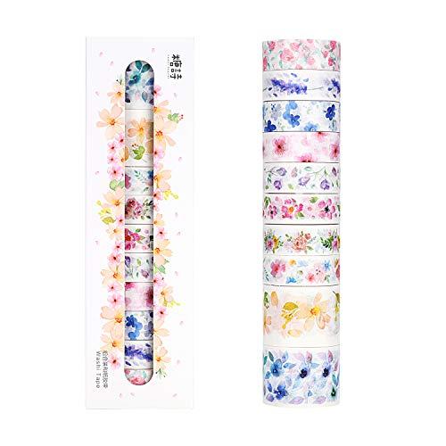Molshine Set mit 12 japanischen Washi Masking Tape, Sweet Dream, Sticky Paper Tape für DIY, Dekoratives Basteln, Geschenkverpackung, Scrapbook flower series
