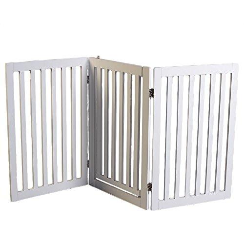 Weiß Holz Hund Tor mit walk-through Tür (Freistehende Tor Tür)