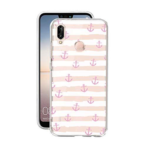 HULI Design Case Hülle für Huawei P20 Lite Handy im rosa Anker Design - Handyhülle aus TPU Silikon - Schutzhülle im maritim Muster Kreuzfahrt Anchor - Transparent für Dein Smartphone