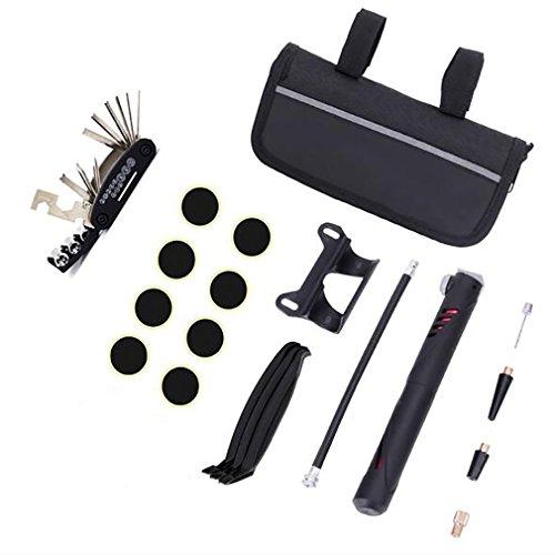 Portable Pump Bike Tools Tragbare Reifenpatch Reparatur Kits 16 in 1 Multi-Tool Aufbewahrungstasche mit Mini Pumpe Multifunktions Radfahren Werkzeuge