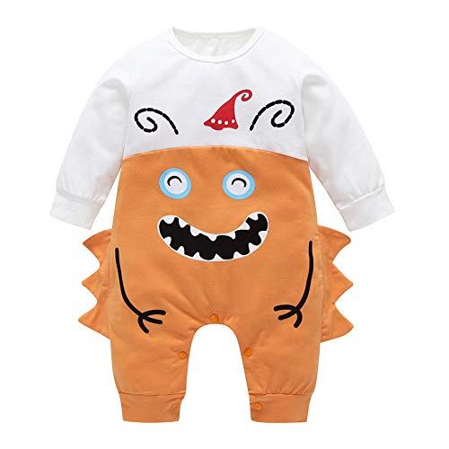 Gfjhgkyu Schöne Party Cartoon Monster Langarm Baby Jungen Mädchen Strampler Baumwolle Infant Overall Orange 80cm