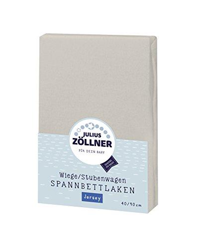 Julius Zöllner 8330147540 Jersey Spannbetttuch für Wiegen 90x40 und Stubenwagen, Farbe: taupe
