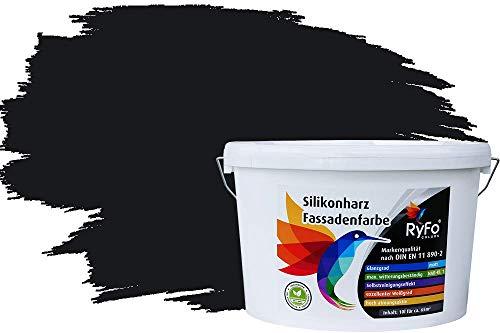 RyFo Colors Silikonharz Fassadenfarbe Lotuseffekt Trend Schwarz 10l - bunte Fassadenfarbe, weitere Grau Farbtöne und Größen erhältlich, Deckkraft Klasse 1