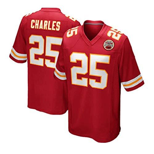 Pilang Herren Casual Sport-T-Shirt, Kansas City Chiefs, Charles #25, Casual T-Shirt, Kleidung, American Football Sportswear, rot, Größe S