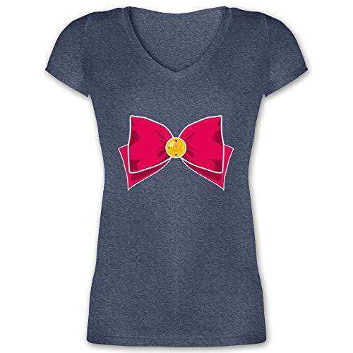 Karneval & Fasching - Superheld Manga Moon Kostüm - XS - Dunkelblau meliert - XO1525 - Damen T-Shirt mit ()