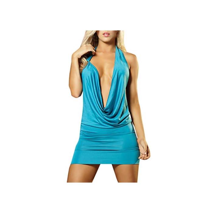 URSING Sexy Dessous Damen Neckholder Mesh Patchwork Rückenfreies Kurz Kleid ÄrmelloseTrägerloses Babydoll Clubwear…