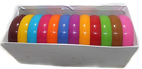 Beadsnfashion Plastic Colourful Broad Bangles Kada For Silk Thread Jewellery Making, Full Box 12 Pcs, Size2.2