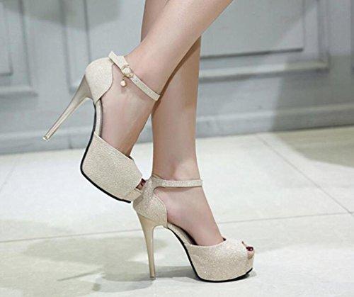 Hochzeit OL Plattform 4 cm Knöchelriemen Stiletto 12 cm Ferse Peep Toe Sequins Decoratiom Wearable Casual Shopping Schuhe EU Größe 34-40 Gold
