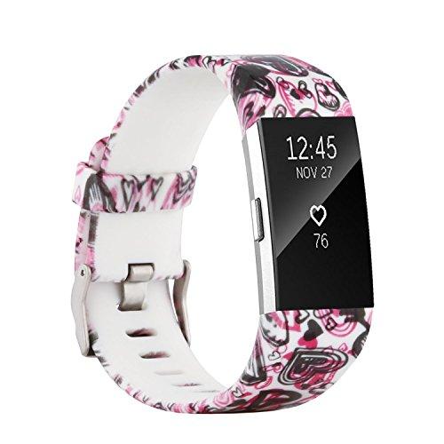 Fit-power Armbänder für Fitbit Charge 2, weich, verstellbar, für Sport und Freizeit, 2 Größen, Pattern O, S