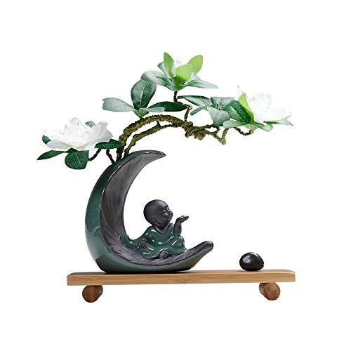 8511 Artwork Tischdekoration, kleine Mönch-Dekoration, voller Zen, exquisite chinesische Stilgeschenke, Keramikmaterial, künstlicher Rhododendron, natürlicher Bambusfuß, hochwertiger Stein, 10,2 * 5,1