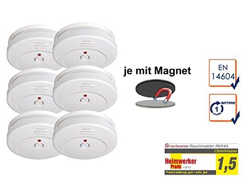 SMARTWARES 6er-Set Rauchmelder reinweiß mit Magnethalter, 85dB Alarm, TÜV zertifiziert; RM149...