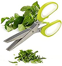 Onshoppy Multi-functional Stainless Steel Kitchen Knives 5 Layers Scissors Cut Herb Spices Cooking Tools Vegetable Cutter With Cleaning Brush