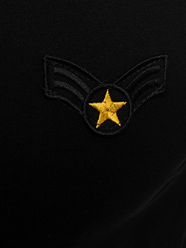 OZONEE Herren T-Shirt mit Motiv Kurzarm Rundhals Figurbetont BREEZY 541 Schwarz_BREEZY-541