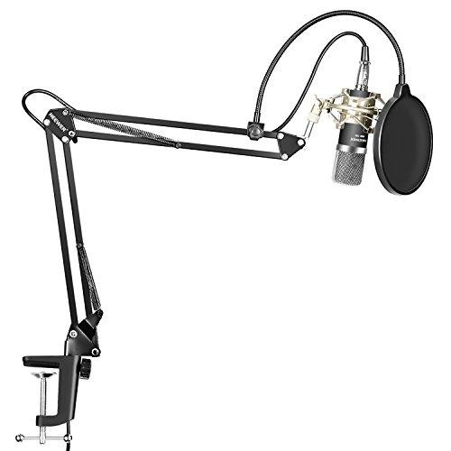 Neewer Kit di Microfono a Condensatore - Microfono,Stand Asta di Sospensione Braccio a Forbici con Serratura da Tavolo, Supporto Anti-vibrazione Filtro Pop per Registrazioni Casa/Studio