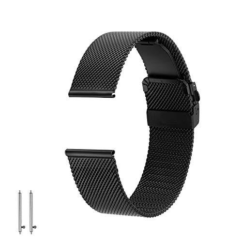 EONPOW Edelstahl Uhrenarmband Mesh Faltschließe ausgestattet Metallarmband (Faltschließe 20mm Uhrenarmband)