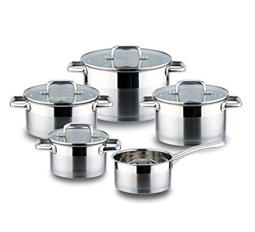 Linnuo Topfset Induktion Kochtopf Set Edelstahl Töpfe mit Glasdeckel für alle Herde inkl Induktionsherd geeignet für Spülmaschine und Backofen hochwertiges Kochset für moderne Küchen (9tlg. Set)