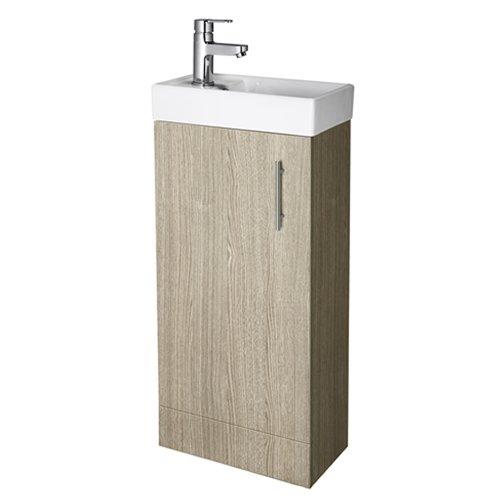 Trueshopping Compact Oak Finish Floor Standing 400mm Vanity Unit Bathroom Cloakroom Storage with Basin